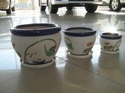 Продам горшки для цветов керамика набор (3 шт.+3 тарелки)