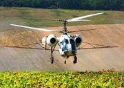 Обработка подсолнечника вертолетом
