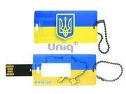 USB Flash Uniq ВИЗИТКА флаг Украины прямоугольная,  пластик