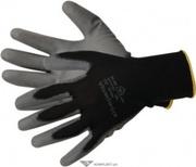 Перчатки нейлоновые АГАТ с ПУ покрытием, черные