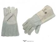 Перчатки спилковые КРАГИ,  серые,  без подкладки,  35см