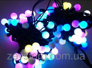 LED Гирлянда нить ШАРИКИ 10 м,  черный кабель(120 Led), RGB, 24 мм