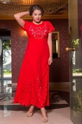 Платье в пол с перфорацией Plus Size 1606