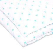 Детское постельное белое белье с звездочками бирюзового цвета
