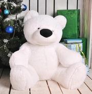 Мягкая игрушка медведь сидячий «Бублик» 70 см. Белый